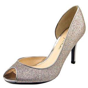 Marc Fisher Peep Toe Pumps Silver Glitter Stiletto